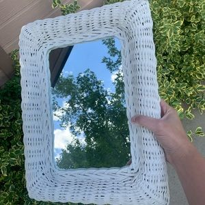Vintage Shabby Chic White Wicker Mirror